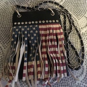 Small Leather American Flag Purse